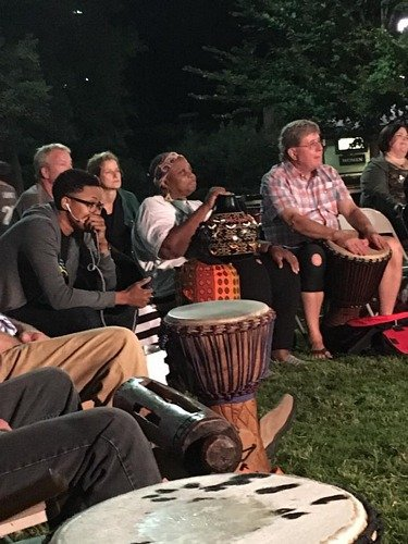 people in the drum circle
