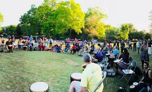 drum circle and spectators