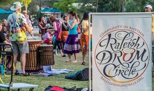 drum circle with dancers
