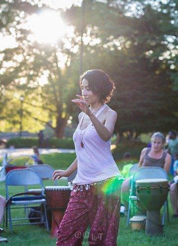 dancer at the Hoop Jam drum circl