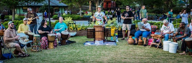 drum circle at Pullen Park in Raleigh